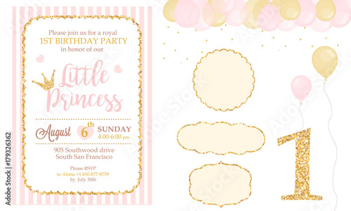 Cute Happy Birthday Card Template Elements Party