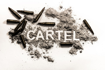 Cartel word as criminal financial or business association, drug dealer