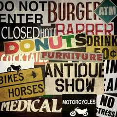 vintage aged and worn street sign collection