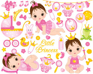 Vector Set with Cute Baby Girls Dressed as Princesses and Various Accessories
