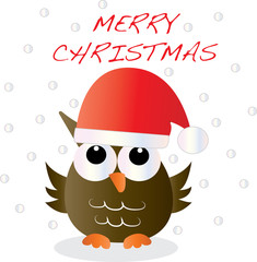 merry christmas greeting with a cute owl