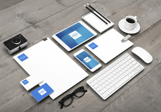 Stationery, Devices and Desk Accessories Mockup