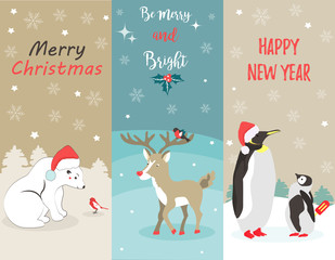 Set of Holiday greeting cards with polar bear, penguins, deer and birds