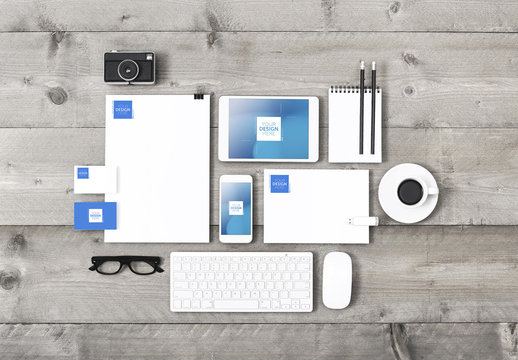 Stationery, Keyboard and Devices on Wooden Table Mockup 2