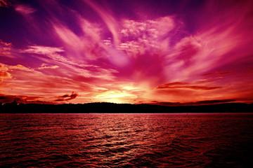 Spectacular Pink Orange Violet Ocean Sunset. Australia