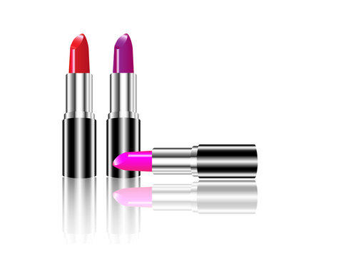 Set of colors lipstick, Makeup beauty natural cosmetic, vector isolated