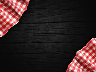 Obraz biało czerwony obrus na drewnie - fototapety do salonu