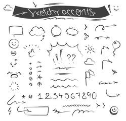 Creative sketchy accents and symbols vector set