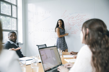 Businesswoman talking at whiteboard in meeting