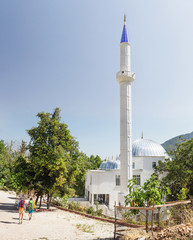 White mosque in Yayla Kuzdere village at Lycian Way in Turkey