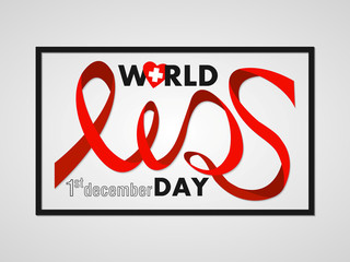 Stylized font Aids red ribbon. World Aids Day poster in frame. Concept 1st December vector illustration.