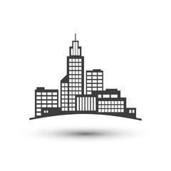 City symbol. Vector flat icon. Black and white