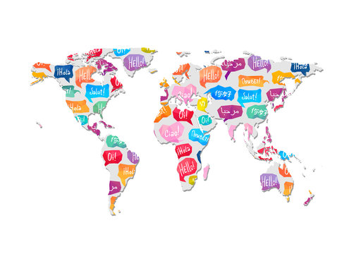 World map with pattern of speaking bubbles with word Hello