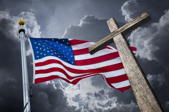 American flag with a christian cross