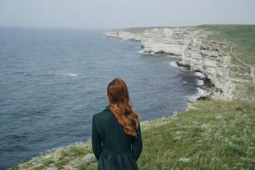 Caucasian woman admiring ocean