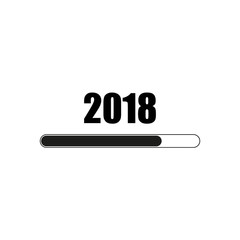 Happy New Year 2018 with loading bar icon on white color background