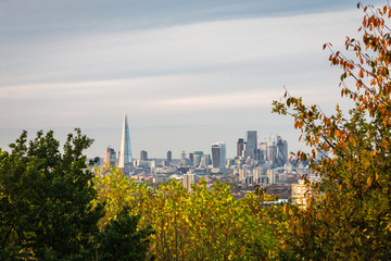 Autumn view of London's skyline from the distance