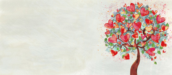 Hearts tree. Paitning on canvas. Bacground