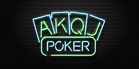 Vector realistic isolated neon sign for Poker and playing cards for decoration and covering on the wall background. Concept of casino and gambling.
