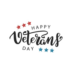 Vector isolated lettering for 11th November, Veterans Day lettering for decoration and covering on the white background. Concept of Memorial day in USA.