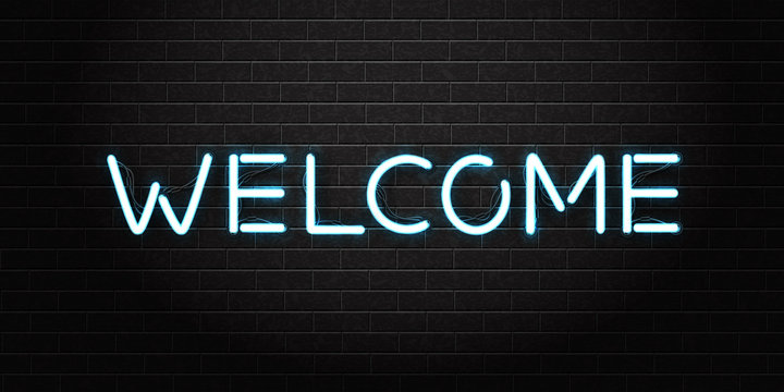 Vector realistic isolated neon lettering sign Welcome for decoration and covering on the wall background. Concept of night club and dj.