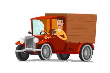 Happy driver rides on retro truck. Delivery, farming, concept. Cartoon vector illustration