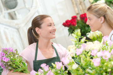 Florist stood with a customer