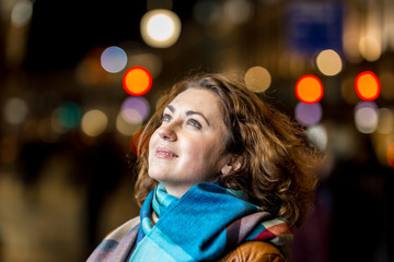 Woman night portrait in Christmas time, London