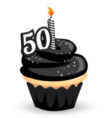 50th Birthday Clip art Cupcake with sparkly black icing and number 50 candle