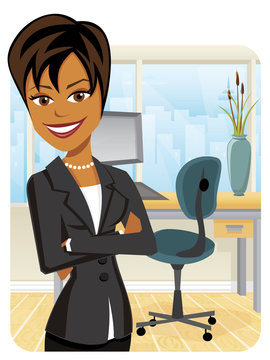 Pretty black businesswoman in a suit with her arms crossed on an office background with city skyline outside window