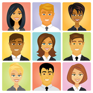 A set of cartoon businessmen and businesswoman avatar faces featuring ethnic diversity to represent your business staff