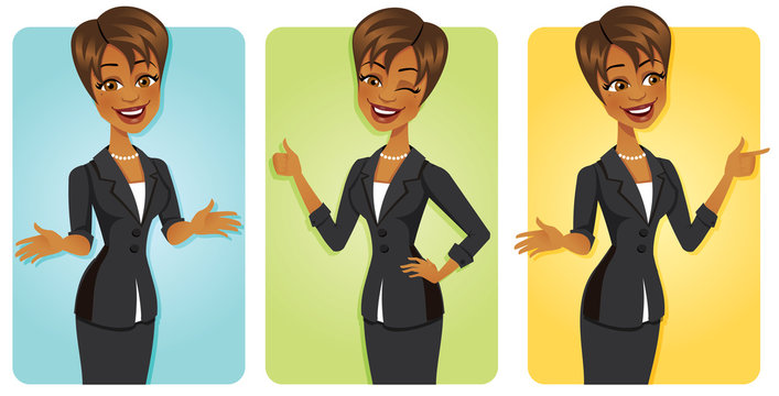 Cartoon black business woman in 3 confident poses wearing a pretty business suit