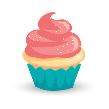 Pretty cartoon vanilla cupcake with pink icing and sparkly white sprinkles
