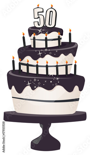 50th Birthday Clip Art Cake With Sparkly Black Icing And Candles