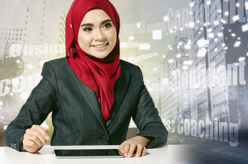 Creative ideas concept with abstract background, young professional entrepreneur sitting and smile