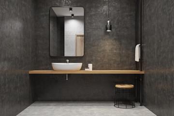 Gray bathroom, sink, mirror