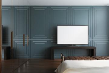 Gray living room, TV set