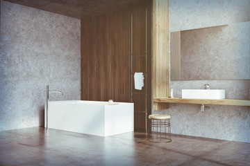 Gray and dark wooden bathroom, tub side toned