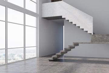 Empty gray apartment hall, stairs