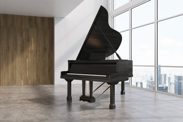 Black piano in a white and wooden room