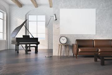 Black piano in a concrete room, poster, sofa