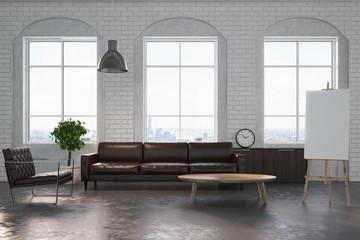 White brick living room, brown sofa