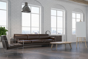 White brick living room, brown sofa side