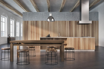 Concrete and wooden dining room