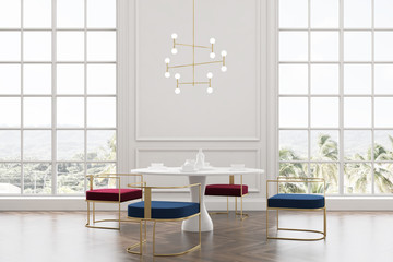 Loft dining room, blue and red chairs