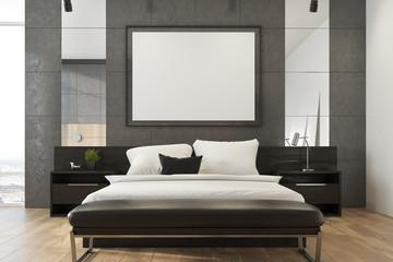 Gray loft bedroom, poster