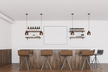 White and dark wooden bar, poster