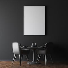Black wall dining room interior, poster