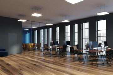 Narrow windows, open space office corner gray