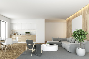 White and wooden kitchen and living room